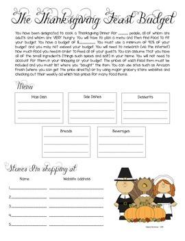 Thanksgiving Feast Budget