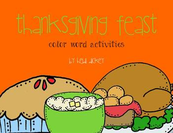 Thanksgiving Themed Color Words Activities