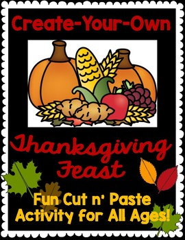 Thanksgiving Feast Coloring Cut n' Paste Activity Printable