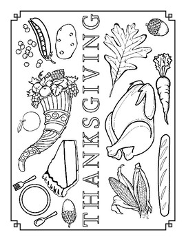 Thanksgiving Feast Coloring Page Sheet