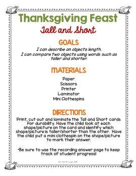 Thanksgiving Feast (Comparisons) Tall and Short