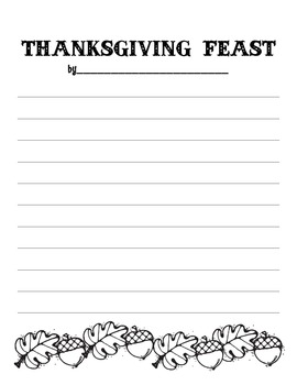 Thanksgiving Feast: Descriptive Writing Unit