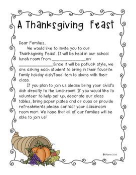 Thanksgiving Feast Letter