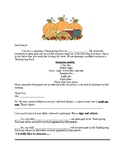 Thanksgiving Feast Letter to Parent