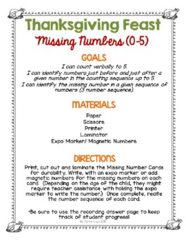 Thanksgiving Feast (Level 2) Missing Numbers 0-5