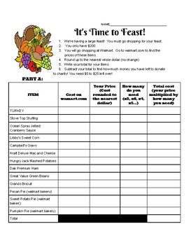 Thanksgiving Feast Math
