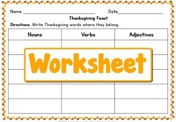 Thanksgiving Feast Nouns, Verbs, Adjectives: Grades 1-2