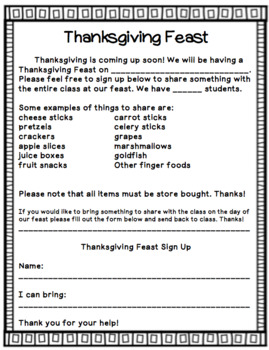 Thanksgiving Feast Parent Letter and Sign Up Sheets