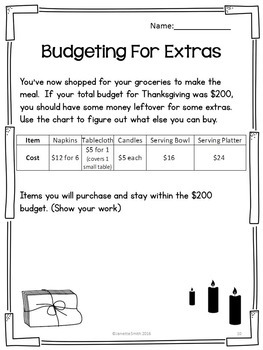 Thanksgiving Feast:  Project Based Instruction