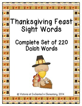 Thanksgiving Feast Sight Words! Complete Set of All 5 Dolch Lists