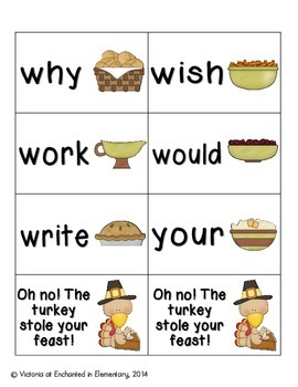 Thanksgiving Feast Sight Words! Second Grade Dolch List Pack