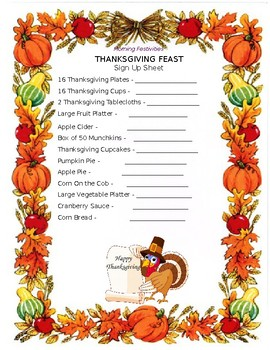 Thanksgiving Feast Sign Up Sheet By Training For All Tpt