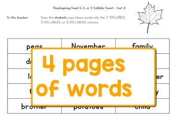 Thanksgiving Feast Syllable Count: Grades 1-2