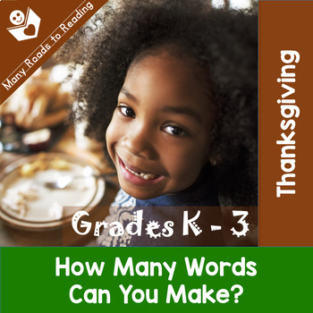 Thanksgiving Parts of Speech, Syllables, ABC Order, Making Words BUNDLE