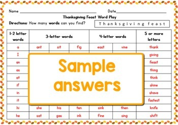Thanksgiving Feast Word Play: How Many Words Can You Make?