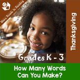 Thanksgiving How Many Words Can You Make