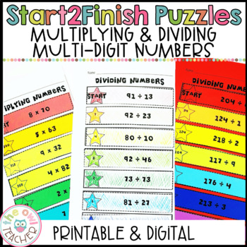 Start 2 Finish Multiplication & Division Math Puzzles