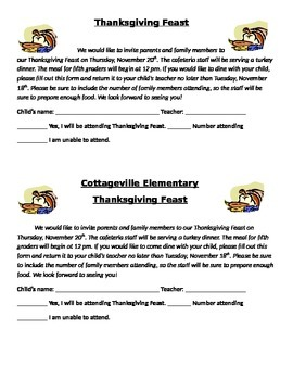 Thanksgiving Feast parent letter/ invite