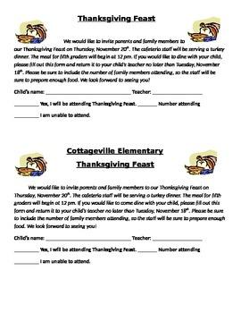Thanksgiving Feast parent letter/ invite