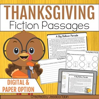 Thanksgiving Activities for Reading Comprehension- Thanksgiving Reading Passages