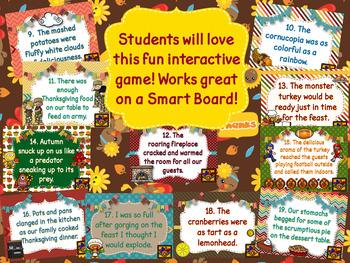 Thanksgiving Figurative Language Interactive Digital Game-NO PREP!