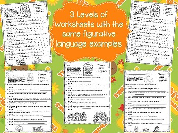 Thanksgiving Figurative Language Task Cards w/ Differentiated Worksheet Options