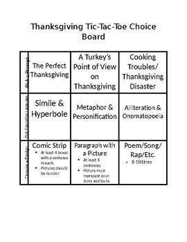 Thanksgiving Figurative Language Tic-Tac-Toe Board