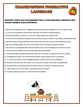 Thanksgiving Figurative Language Worksheet