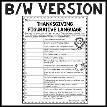 Thanksgiving Figurative Language Identification Worksheet ...