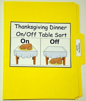"Thanksgiving File Folder Game:  ""On and Off the Table Sort"""