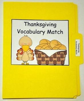 "Thanksgiving File Folder Game:  ""Thanksgiving Vocabulary Match"""