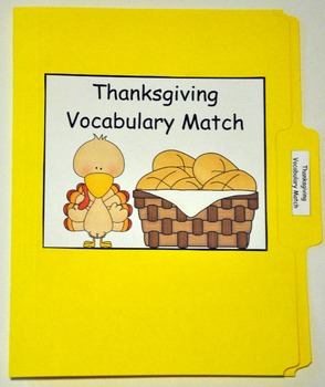 "Thanksgiving File Folder Game:  ""Thanksgiving Vocabulary Match"""