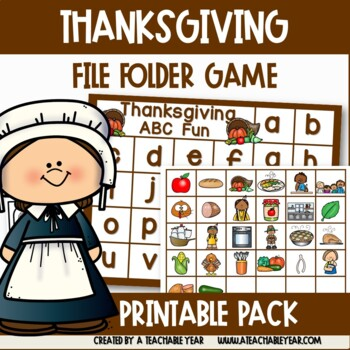 Thanksgiving  File Folder- Matching Letters and Pictures