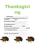 Thanksgiving Fill-In the Blank