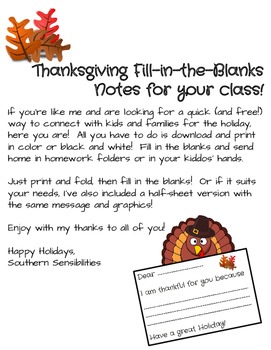 *Freebie!* Thanksgiving Fill-in-the-Blank Thank Yous! *Freebie!*
