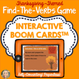 Thanksgiving Find the Verbs Game, Boom Cards™, Grammar in Context