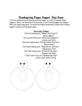 Thanksgiving Finger Puppet Play Poem