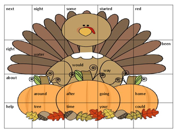 Thanksgiving First Grade Sight Word Puzzles
