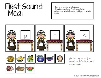 Thanksgiving First Sound and Rhyming Activities