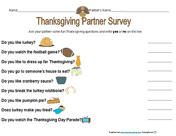 Thanksgiving First, Then, Next Writing Prompt and Survey