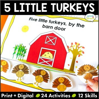 Thanksgiving Five Little Turkeys: Flipbook, Phonological A