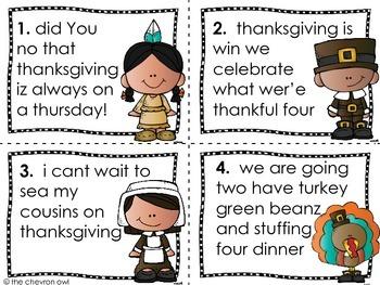 Thanksgiving Fix the Mistakes Grammar Activity