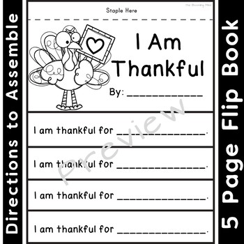 I Am Thankful Writing Activity