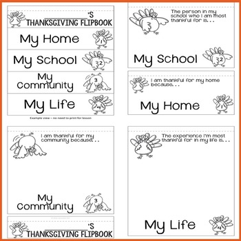 Thanksgiving Flip Book - Elementary School - School Counseling