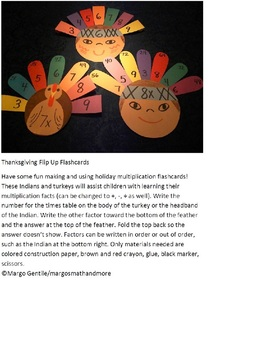 #backtoschool Thanksgiving Flip Up Flashcards; Fun To Make and Use