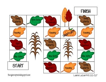 Thanksgiving Fluency Game: Speech Therapy