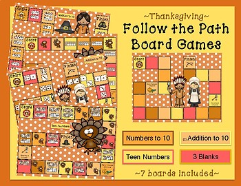 Thanksgiving Follow the Path (Counting and Cardinality) November