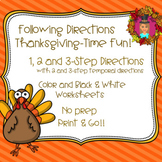 Following Directions - Thanksgiving Fun