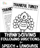 Thanksgiving Following Directions Activity for Speech and
