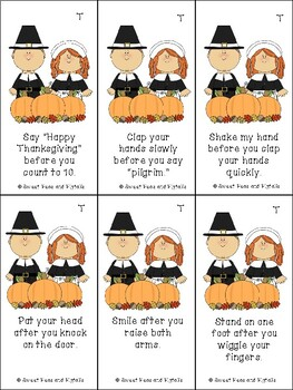 Thanksgiving Following Directions Cards & Coloring Sheets
